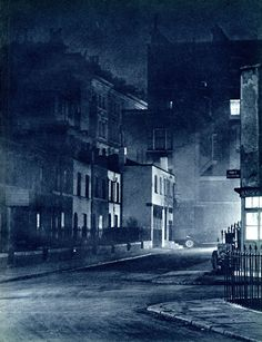 Dark City: fantastic set of atmospheric photographs of London streets by night in the 1930s.     This is London before the Blitz, before the clean air act and before sodium lighting. It was a city of gloomy back streets lit by dim lamps, with forbidding alleys and the occasional welcoming light.