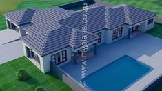 4 Bedroom House Plan - My Building Plans South Africa 4 Bedroom House Plans, Family House Plans, My Building, Building Plans, Single Storey House Plans, Tuscan House Plans, House Plans South Africa, Free House Plans, Bungalow House Design