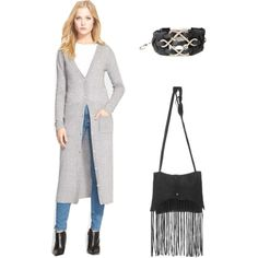 "We love this Boho Chic look for fall featuring hot trends like the ""long sweater"" & ""fringe"""