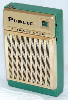 Vintage Public 6 Transistor Radio, Metal Front & Plastic Body, Made In Japan, Circa 1960s.