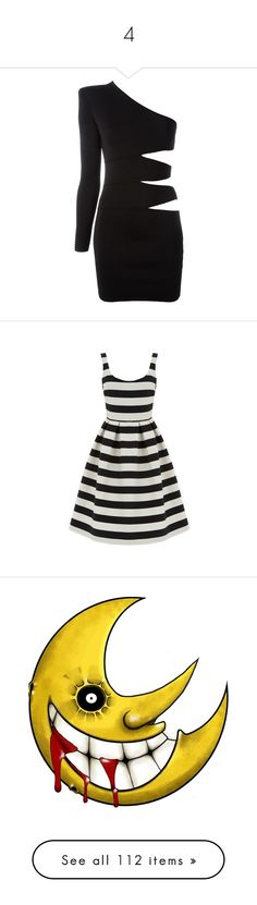 """4"" by bluekiller2002 ❤ liked on Polyvore featuring dresses, black, short one sleeve dress, one shoulder cocktail dress, form fitted dresses, balmain, short cocktail dresses, black stripe, stripe dress and exposed zipper dress"