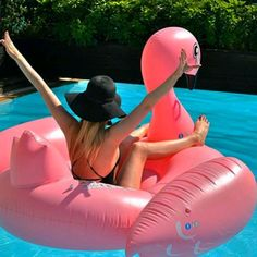 Wishing we could still ride the flamingo in the pool! Who else is with us?  Photo: @jillian.90