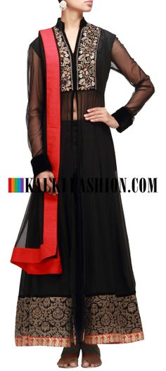 Buy Online from the link below. We ship worldwide (Free Shipping over US$100) http://www.kalkifashion.com/black-anarkali-suit-featuring-with-center-slit-and-zari-embroidery.html Black anarkali suit featuring with center slit and zari embroidery