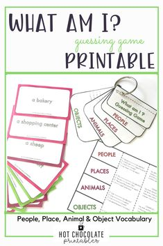 Have your students think of clues to describe their vocabulary word. Flapbook and student clue helper included. 128 game cards including People, Place, Animal and Object Vocabulary words. #eslprintables #guessinggames #englishforkids #esl