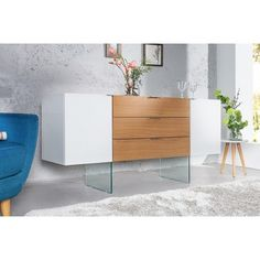 Modernes Sideboard Onyx weiß Hochglanz Glas Eiche Riess Ambiente - Lilly is Love Rustic Romantic Bedroom, Rustic Grey Bedroom, Rustic Country Bedrooms, Modern Grey Bedroom, Modern Minimalist Bedroom, Small Master Bedroom, Romantic Home Decor, Modern Room, Small Sideboard