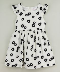 This White & Black Flower Flutter Dress - Infant, Toddler & Girls is perfect! #zulilyfinds