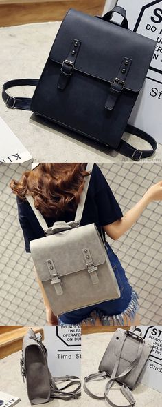 57dc5fad33 Retro Multifunction Shoulder Bag PU Square Backpack Frosted Metal Lock Flap  Backpack for big sale!