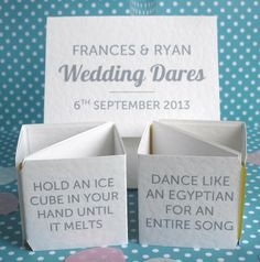 personalised wedding dares table decoration by paperbuzz cards | notonthehighstreet.com