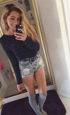 jumper and denim shorts, also love the knee high grey socks