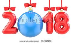 Happy New Year 2018 banner with red ribbon and bow. Text 2018 made in the form of a blue and red Christmas ball. 3D illustration of traditional festive Xmas bauble. Merry Christmas and Happy New Year