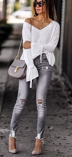 #summer #outfits White One Shoulder Knit + Grey Ripped Skinny Jeans