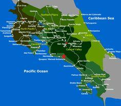 Caribe Norte: Playa Bonita Caribe Sur: Cahuita, Puerto Viejo y alrededores Pacífico: Manuel Antonio Heredia, San José, Moravia, Puerto Limón