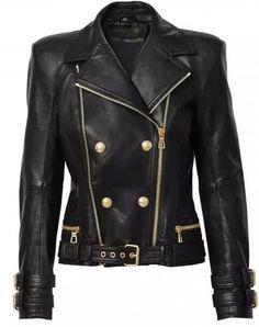 2015 Autumn Spring Limited Edition Genuine Lambskin Leather Short biker Jacket HEM BELT DOUBLE ZIPPERS Gold Buckled LAPEL COLLAR #Affiliate