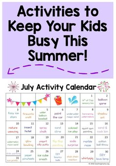 July Activity Calendar - super fun summer activities for kids!