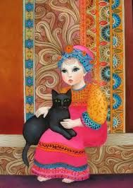 A very fancy girl with a quite ordinary cat. Sometimes life is just like that. Oz is not ordinary and neither are you, so fancy girl with fancy cat is what you are our fancy Smoo. Crazy Cat Lady, Crazy Cats, Black Cat Art, Black Cats, Image Chat, Fancy Cats, Jewish Art, Cat People, Paintings I Love