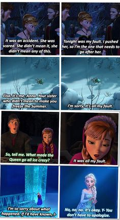 Anna. she is blaming herself because she knows and understands elsa now. she doesnt remember what happened when they were kids or why elsa didnt tell her her secret and yet goes after her. even after elsa froze her heart and was described as a monster, Anna went over and sacrificed elsa's life for own. thats why i love this movie, it shows how powerful love is. sorry for blabbing but still