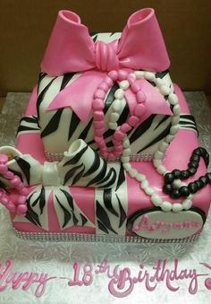 Calumet Bakery Zebra, Bows, and Pearls Fondant Birthday Cake Calumet Bakery, Birthday Cakes, Eat Cake, Fondant, Bows, Pearls, Desserts, Arches, Tailgate Desserts