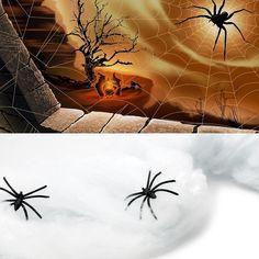 TRIXES Ragnatela bianca decorativa, elasticizzata per Halloween con ragni.: Amazon.it: Casa e cucina