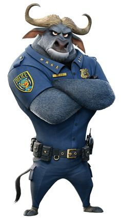 Chief Bogo is a major protagonist of Zootopia. He is a cape buffalo and the chief of the Zootopia Police Department. He is voiced by Idris Elba, who also portrayed Heimdall in the Marvel Cinematic Universe. Zootopia Characters, Zootopia Movie, Disney Cartoon Characters, Disney Cartoons, Disney Movies, Disney E Dreamworks, Disney Wiki, Disney Pixar, Disney Animation
