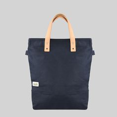 6f90b669d6 Leather Canvas Tall Tote - Navy