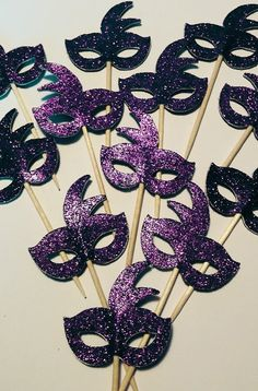 Purple Mardi Gras Mask Cupcake Toppers – Set of Masquerade Party, Birthday Party, Bachelorette Party Fun Decor – Die Cut - Cupcakes Masquerade Party Centerpieces, Masquerade Ball Party, Sweet 16 Masquerade, Mardi Gras Centerpieces, Masquerade Wedding, Masquerade Theme, Mardi Gras Decorations, Masquerade Ball Decorations, Masquerade Cupcakes