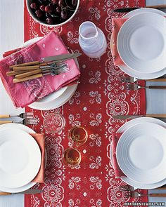 table runner for a barbeque or picnic - sew bandanas together - cute.  also use individual bandanas as napkins. follow source link for the how-to