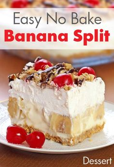 Easy No Bake Banana Split Dessert Recipe This creamy Banana Split dessert is a family favorite! Delicious, rich and creamy, with all the ingredients you love in a banana split . - Easy No Bake Banana Split Dessert Recipe No Bake Banana Split Dessert Recipe, Quick Dessert Recipes, Easy Desserts, Baking Recipes, Delicious Desserts, Banana Dessert Recipes, Desserts With Bananas, Recipes With Bananas, Easy Recipes