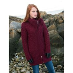 merino wool Aran full-zip