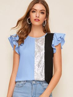 To find out about the Ruffle Armhole Sequin Patched Colorblock Top at SHEIN, part of our latest Blouses ready to shop online today! Diy Fashion, Fashion News, Sequin Patch, Sequin Fabric, Summer Shirts, Elegant Dresses, Types Of Sleeves, Blouse Designs, Shirt Blouses