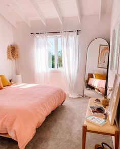 Our Wildflower Pink Mustard French linen bedding sitting pretty in the home of Ellie Bullen Room Ideas Bedroom, Home Decor Bedroom, Bedroom Inspo, Shabby Bedroom, Pink Home Decor, Bedroom Signs, Diy Bedroom, Bed Room, Dream Rooms