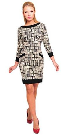ae12b70f66b Olian Maternity Womens Abstract Print Gisela Dress SZ Large Black Ivory      Click on