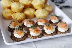 Salmon on pumpernickel bread - yummy wedding food! #wedding