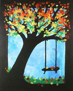 """Social Artworking Canvas Painting Design - Leaning Tree  Capture the brilliant colors of fall leaves with this tree silhouette canvas. You can even paint this design for different seasons. For spring, you can change the leave colors to pale green and make them smaller and for summer, switch them out for dark greens.  CANVAS SIZE:  16"""" x 20""""  TIME TO PAINT:  approximately 2 hours"""