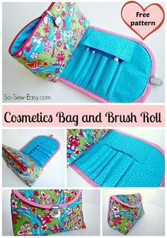 Free sewing pattern and video tutorial for an easy cosmetics bag with a built on brushes bag or roll. Keep your brushes clean and protect those bristles!