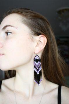 Black & purple Native American earrings  Dangle Long Earrings