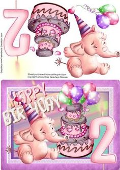 Lovely A5 little girls 2nd birthday with a Pink elephant blowing his trumpet and a nice birthday cake would suit any little girl