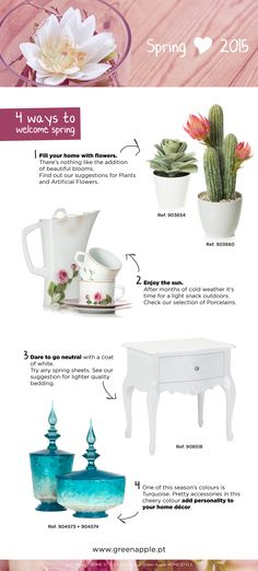 Spring has arrived and with it new colors, trends, textures ... 4 suggestions to embrace the new season in style! ‪#‎InspiringCollections‬ ‪#‎InteriorDecoration‬ ‪#‎Furniture‬ ‪#‎Portugal‬ #Spring