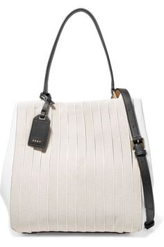 DKNYStriped cotton canvas and leather shoulder bag Leather Handbags, Leather Bags, Purses And Bags, Women's Bags, Designer Bags, Designer Handbags, Fashion Bags, Leather Shoulder Bag, Bucket Bag