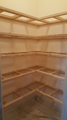 We wanted to get rid of the wire racks in our pantry and install some shelves that were a lot nicer. The old wire racks were hard to work with, so we decided to build our own shelves from the ground u Pantry Room, Corner Pantry, Pantry Closet, Kitchen Pantry Design, Diy Kitchen Storage, Pantry Shelving, Pantry Storage, Pantry Makeover, Home Upgrades