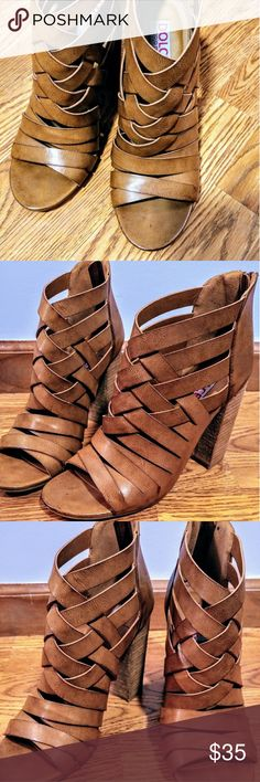Strappy Tan Peep Toe Booties Tan boots with faux leather straps and a peep toe.  Brand new/never worn and perfect for transitioning through all seasons.  Color is closest to the first and last photo. Francesca's Collections Shoes Heeled Boots