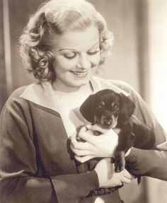 Jean Harlow with her Dachshund, Nosey