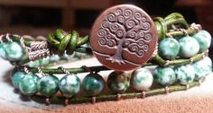 Handmade Adjustable Antiqued Green Double Leather Wrap Bracelet with Tree Agate Stone Beads and Antiqued Tree of Life Button