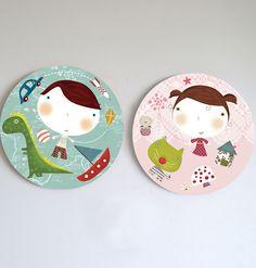 Kids wall art, prints and murals-Cuadros infantiles, láminas y tarjetas para fiestas — Cuadros infantiles-MIPLANETA- wall art