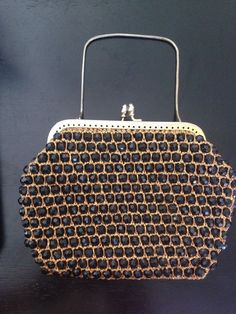 1960's  Gold With Black Beads Handbag Marcus Brothers British Crown Hong Kong  | eBay