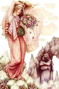 Persephone by Anne Yvonne Gilbert. Persephone was the goddess queen of the underworld, wife of the god Haides. She was also the goddess of spring growth, who was worshipped alongside her mother Demeter in the Eleusinian Mysteries. This agricultural-based cult promised its initiates passage to a blessed afterlife.