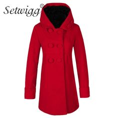 >> Click to Buy << SETWIGG Women's Winter Thick Wool Blend Hooded Outerwear Fleece Lined Double-breasted Sweet Warm Slim Long Overcoats #Affiliate