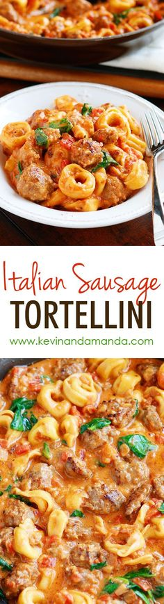 This Italian Sausage Tortellini is a MUST make! The tomato sauce is so rich and creamy and the Italian sausage is fabulous! Plus it all cooks in one pot so you only have one dish to wash! (Easy Meal To Make Pasta) Pork Recipes, New Recipes, Cooking Recipes, Favorite Recipes, Pasta Recipes, Cream Recipes, Dishes Recipes, Budget Recipes, Cheese Tortellini Recipes