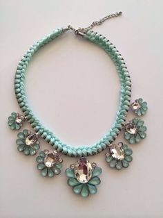 LLD Jewellery Seven Flower Collar Necklace Pastel Green Turquoise Celeb Blogger