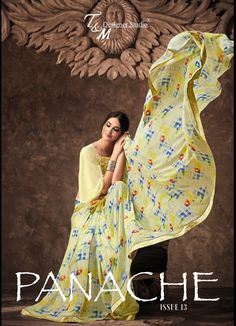 Catalog Name: T&M Panache Vol 13 Fabric Details Saree: Georgette Blouse: Georgette Total Design : 18 Full Catalog Price: Rs. Only MOQ: Full Set Only Floral Print Sarees, Printed Sarees, Indian Ethnic Wear, Saree Collection, Indian Sarees, Sarees Online, Print Design, Fancy, Gowns