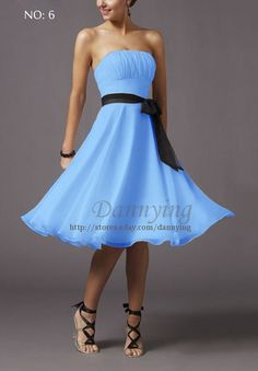 Free short Bridesmaid gown Party Cocktail Dress Light Blue